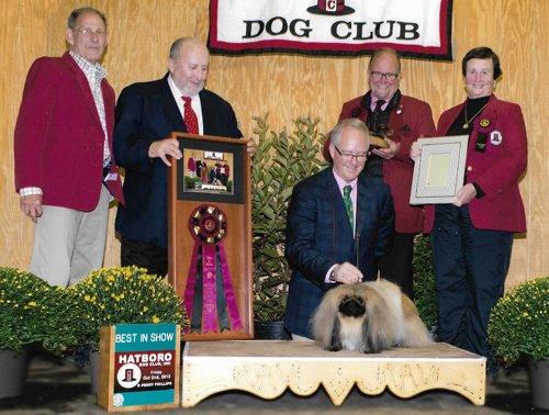 Ch Pequest General Tso winning BIS at Hatboro Dog Club