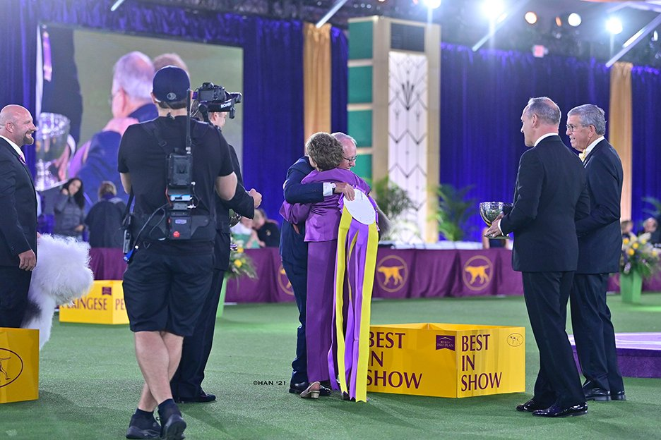 David and Judge Trotter embracing after she points to Wasabi for the BIS win